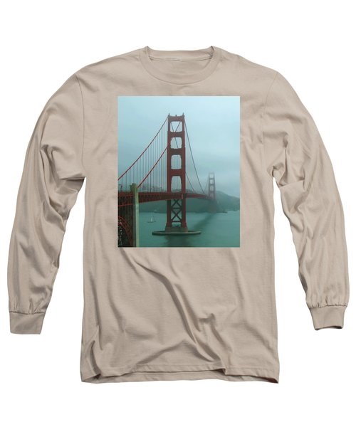 Golden Gate Bridge And Partial Arch In Color  Long Sleeve T-Shirt by Connie Fox