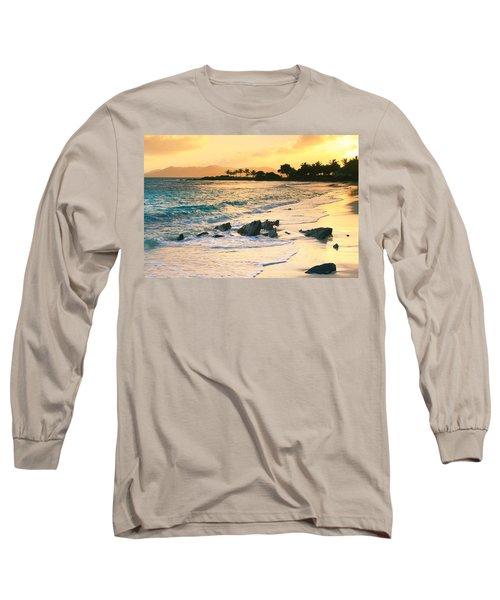 Golden Sunrise On Sapphire Beach Long Sleeve T-Shirt