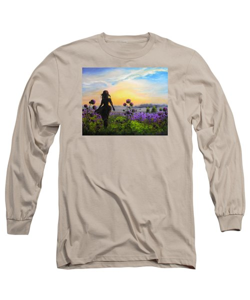 Long Sleeve T-Shirt featuring the painting Golden Surrender by Vesna Martinjak