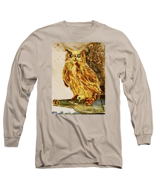 Long Sleeve T-Shirt featuring the painting Goldene Bier Eule by Beverley Harper Tinsley