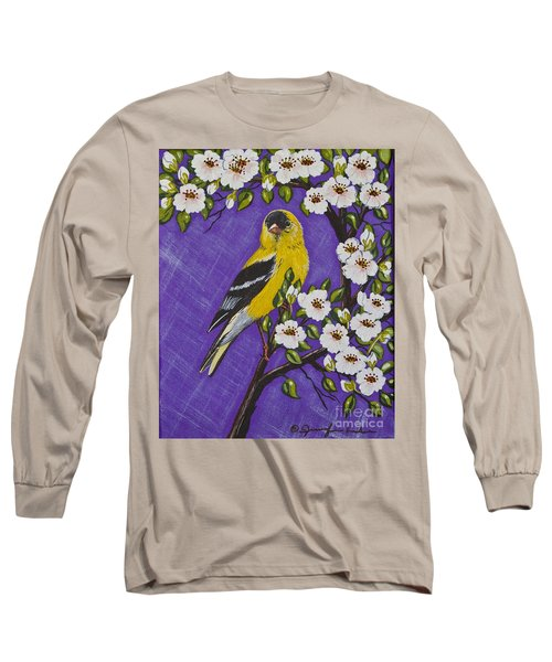 Goldfinch In Pear Blossoms Long Sleeve T-Shirt