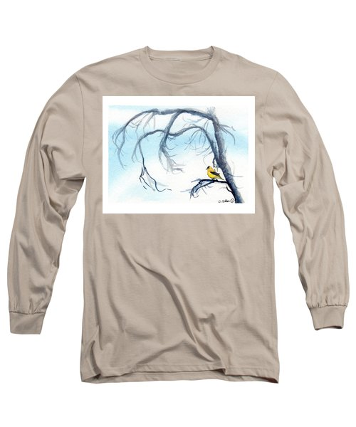 Goldfinch In Tree Long Sleeve T-Shirt by C Sitton