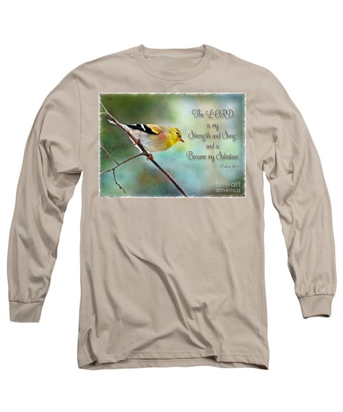Goldfinch With Rosy Shoulder - Digital Paint And Verse Long Sleeve T-Shirt by Debbie Portwood