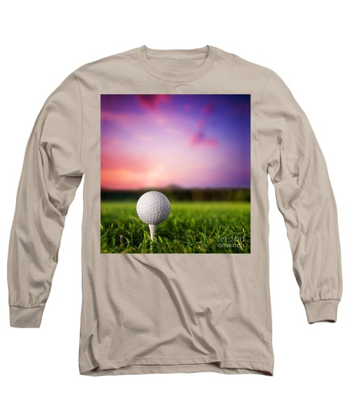 Golf Ball On Tee At Sunset Long Sleeve T-Shirt