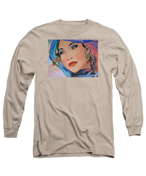 Gorgeous Lady With Beautiful Earrins Long Sleeve T-Shirt by Phyllis Kaltenbach