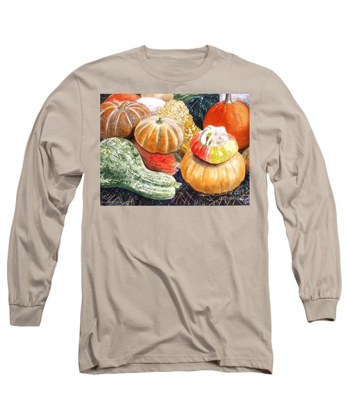 Long Sleeve T-Shirt featuring the painting Gourds by Carol Flagg