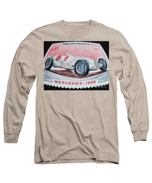 Grand Prix De Monaco 1936 Vintage Postage Stamp Print Long Sleeve T-Shirt by Andy Prendy
