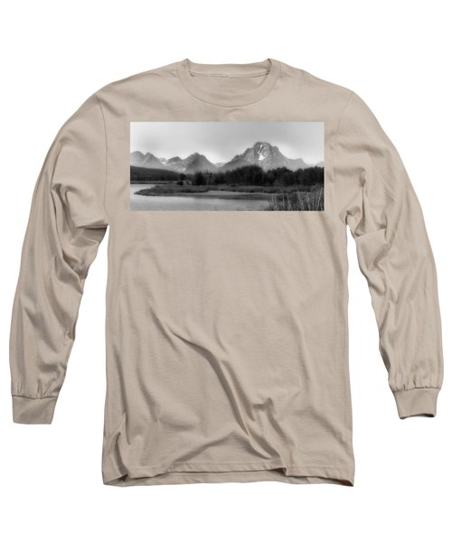 Long Sleeve T-Shirt featuring the photograph Grand Tetons Bw by Ron White