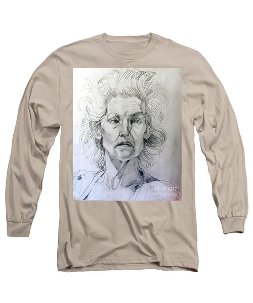 Graphite Portrait Sketch Of A Well Known Cross Eyed Model Long Sleeve T-Shirt
