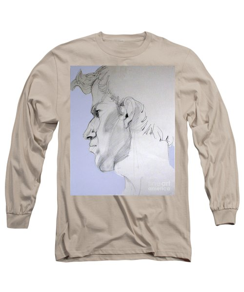 Long Sleeve T-Shirt featuring the drawing Graphite Portrait Sketch Of A Young Man In Profile by Greta Corens
