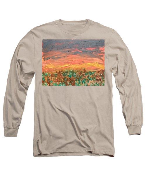 Grassland Sunset Long Sleeve T-Shirt by David Trotter