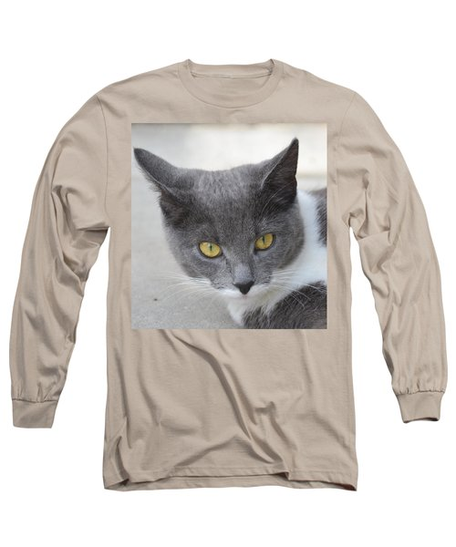 Gray Cat - Listening Long Sleeve T-Shirt by Tine Nordbred