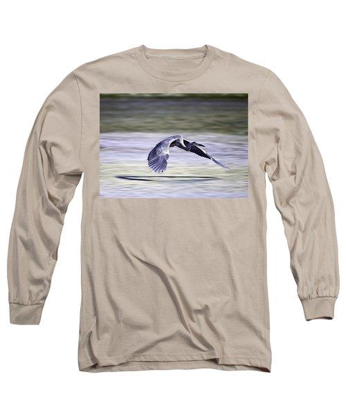 Great Blue Heron In Flight Long Sleeve T-Shirt by John Haldane