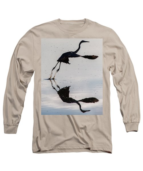Great Blue Heron Takeoff Long Sleeve T-Shirt