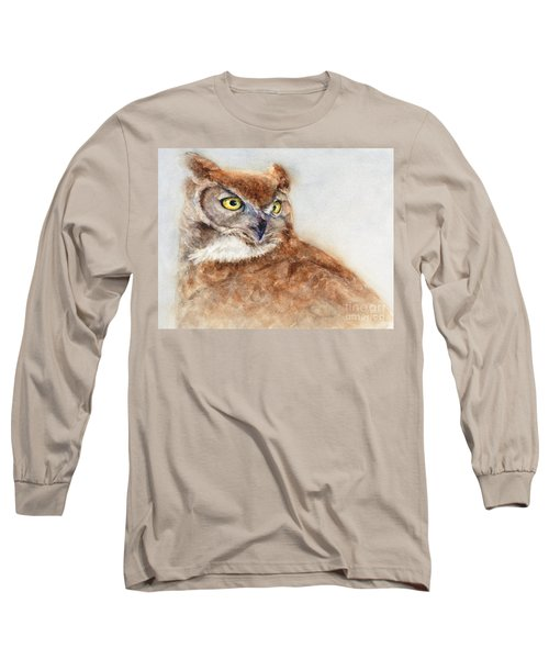 Long Sleeve T-Shirt featuring the painting Great Horned Owl by Bonnie Rinier