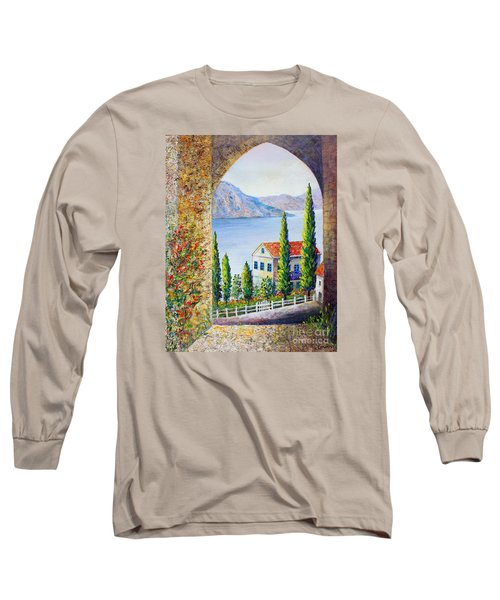 Long Sleeve T-Shirt featuring the painting Greek Arch Vista by Lou Ann Bagnall