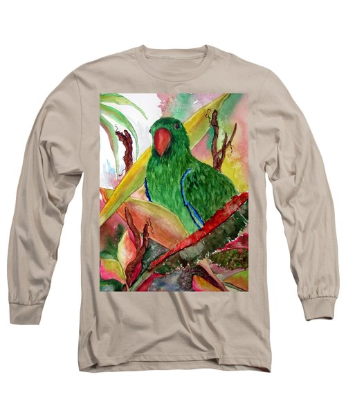 Green Parrot Long Sleeve T-Shirt by Lil Taylor