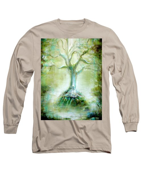 Green Skeleton Meditation Long Sleeve T-Shirt