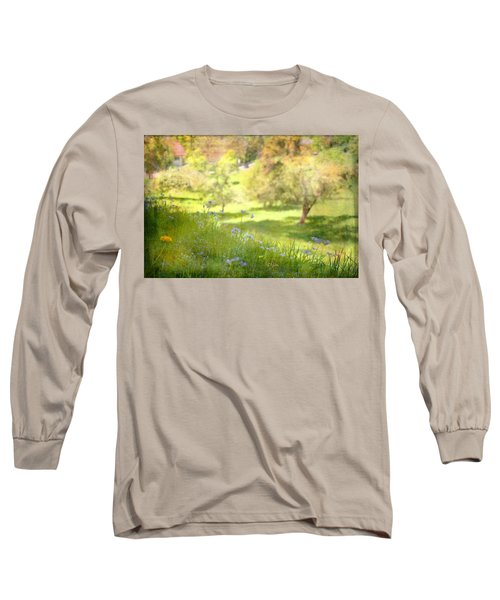 Long Sleeve T-Shirt featuring the photograph Green Spring Meadow With Flowers by Brooke T Ryan