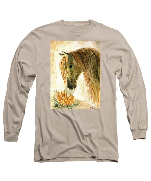 Greeting A Sunflower Long Sleeve T-Shirt by Angela Davies
