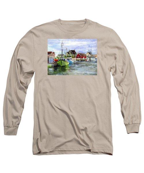 Long Sleeve T-Shirt featuring the painting Peggys Cove Nova Scotia Watercolor by Carol Wisniewski
