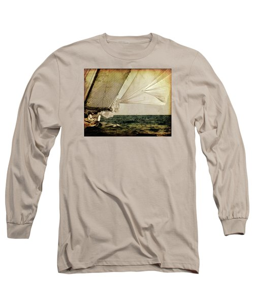 Long Sleeve T-Shirt featuring the photograph Hanged On Wind In A Mediterranean Vintage Tall Ship Race  by Pedro Cardona