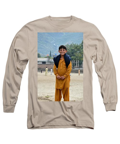 Long Sleeve T-Shirt featuring the photograph Happy Laughing Pathan Boy In Swat Valley Pakistan by Imran Ahmed