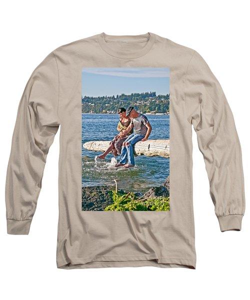 Happy Older Couple Splashing Feet In Water Art Prints Long Sleeve T-Shirt