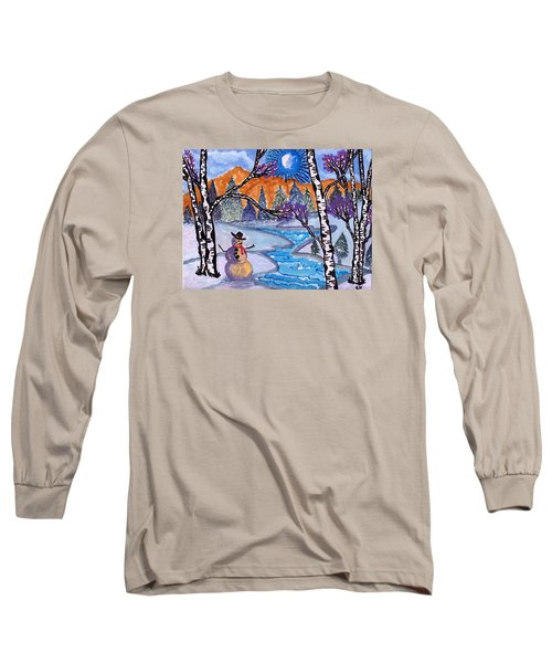 Long Sleeve T-Shirt featuring the painting Happy Snowman by Connie Valasco