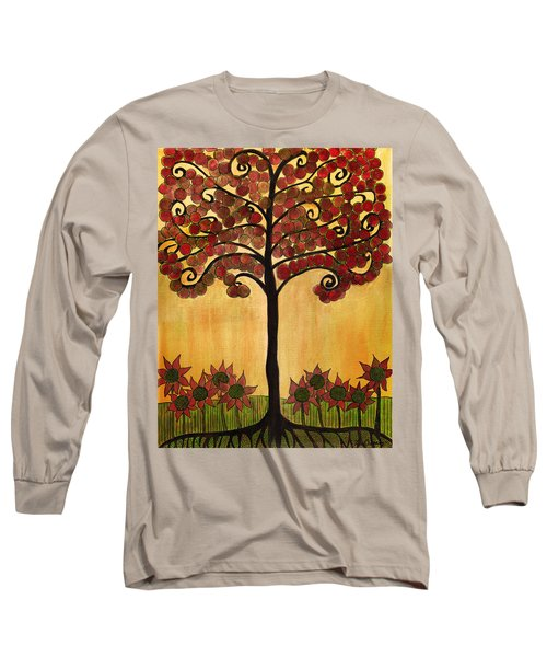 Happy Tree In Red Long Sleeve T-Shirt