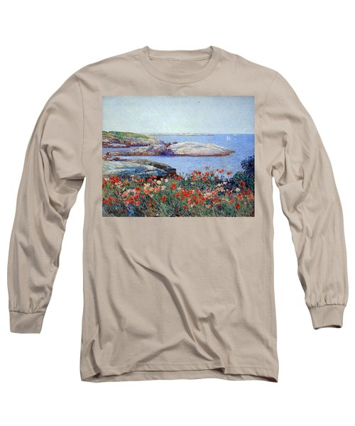 Hassam's Poppies On The Isles Of Shoals Long Sleeve T-Shirt by Cora Wandel