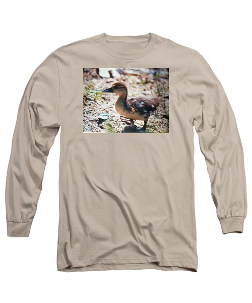 Long Sleeve T-Shirt featuring the photograph Lost Baby Duckling by Belinda Lee