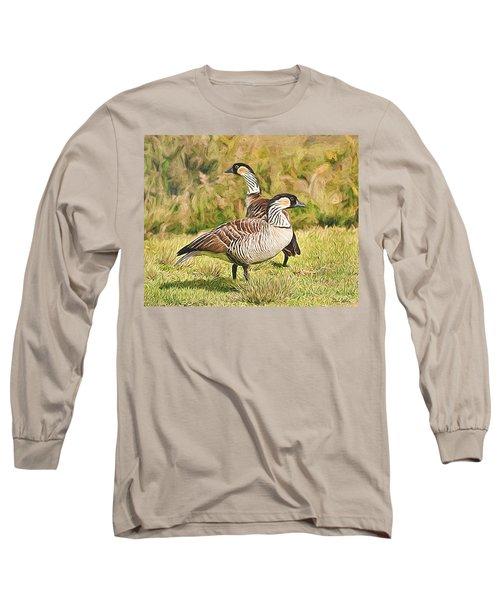 Hawaiian Goose Couple Long Sleeve T-Shirt