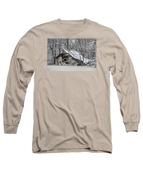 Long Sleeve T-Shirt featuring the photograph Hay Barn In Snow by Debbie Green