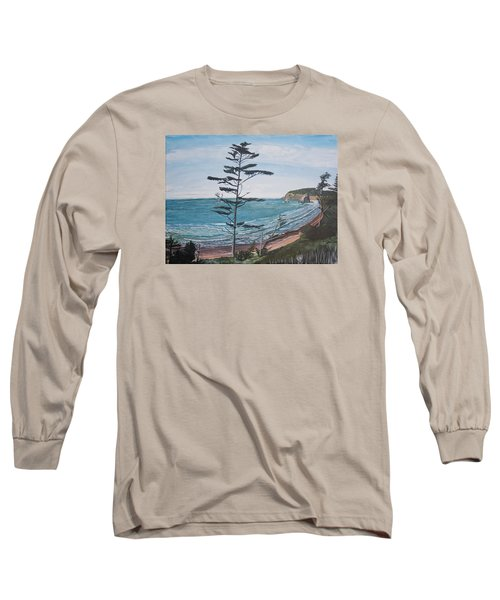 Long Sleeve T-Shirt featuring the painting Hay Stack Rock From The South On The Oregon Coast by Ian Donley