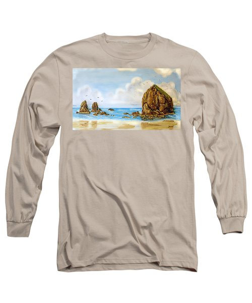 Haystack Relief Long Sleeve T-Shirt by Wendy McKennon
