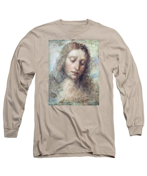 Long Sleeve T-Shirt featuring the drawing Head Of Christ Restoration Art Work by Karon Melillo DeVega