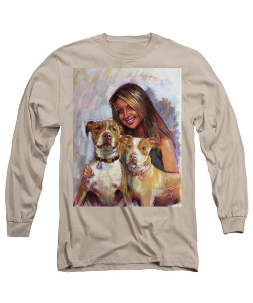 Long Sleeve T-Shirt featuring the drawing Her Best Friends by Viola El