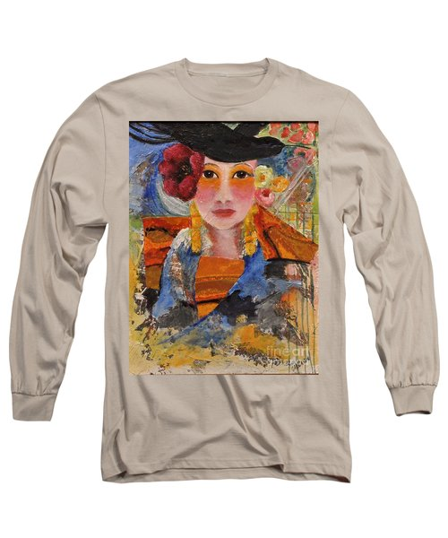 Her Red Flower Long Sleeve T-Shirt by Glory Wood