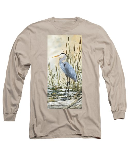 Heron And Cattails Long Sleeve T-Shirt by James Williamson