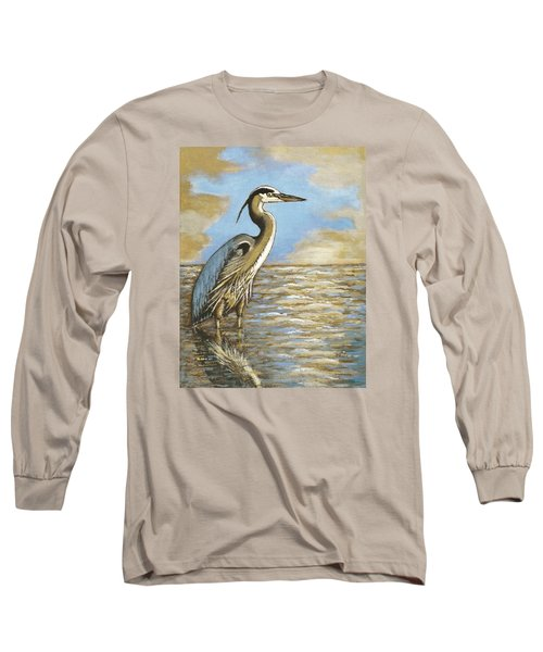 Long Sleeve T-Shirt featuring the painting Heron At Bay by VLee Watson