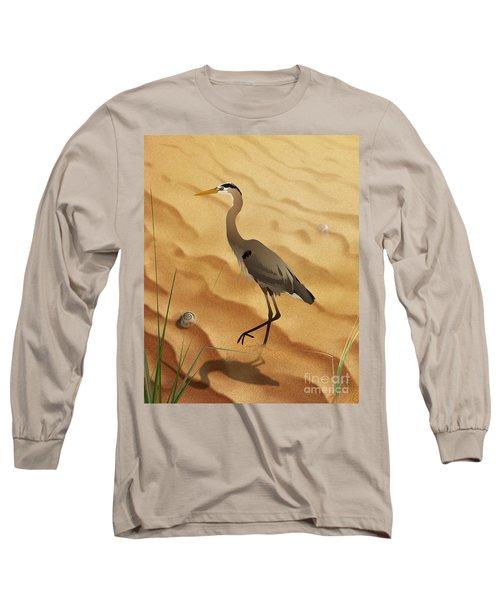 Heron On Golden Sands Long Sleeve T-Shirt