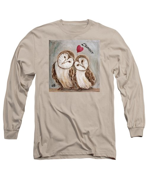 Long Sleeve T-Shirt featuring the painting Hiboux Dans L'amour by Victoria Lakes