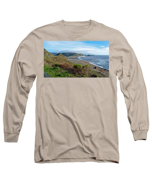 Highway 1 Near Outlet Of Russian River Into Pacific Ocean Near Jenner-ca  Long Sleeve T-Shirt