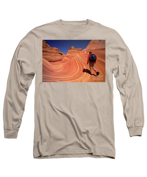 Hiker On Petrified Dunes Long Sleeve T-Shirt