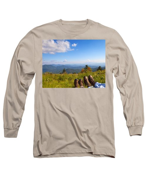 Hikers With A View On Round Bald Near Roan Mountain Long Sleeve T-Shirt