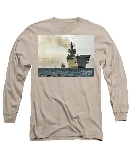 Hms Ark Royal  Long Sleeve T-Shirt by Paul Fearn