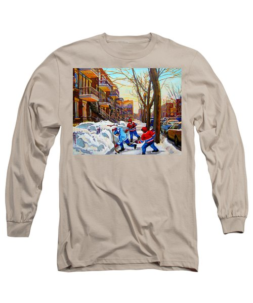 Hockey Art - Paintings Of Verdun- Montreal Street Scenes In Winter Long Sleeve T-Shirt