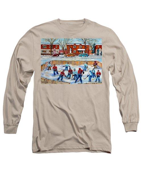 Hockey Rink At Van Horne Montreal Long Sleeve T-Shirt