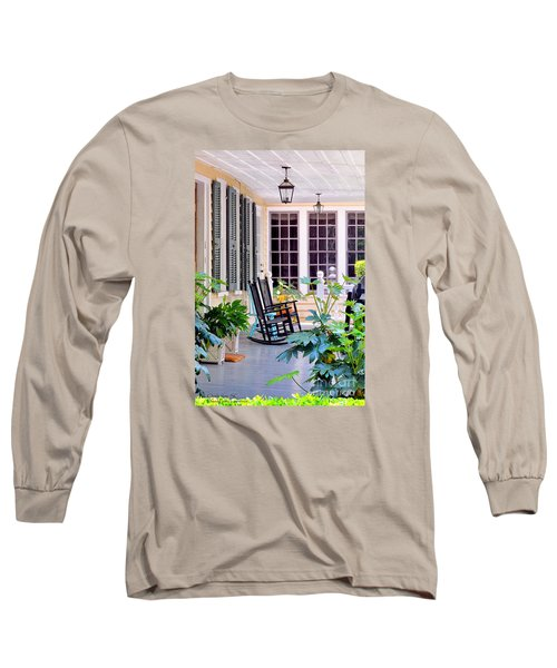 Veranda - Charleston, S C By Travel Photographer David Perry Lawrence Long Sleeve T-Shirt by David Perry Lawrence